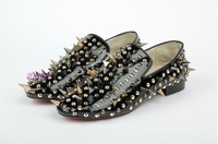 New arrive  leather studs and rivets diamonds flat sneakers for men causal shoes