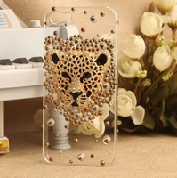 Luxury Crystal Diamond Rhinestone Leopard Panther Head Case Cover For iPhone 5 5G 5S  1pcs/lot