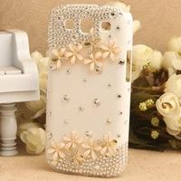 %100 Handmade Luxury Diamond Crystal Rhinestone Wild Flower Case Cover For Samsung Galaxy SIII S3 i9300  1pcs/lot
