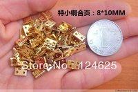 50Pcs Mini Cabinet Drawer Butt Hinge  copper gold small hinge 4 small hole 8*10 copper hinge With screws