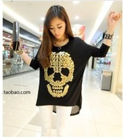 2014 New Fashion Skull Printed T-shirts Chiffon Back Patchwork T-shirt Women's O-neck Long-sleeve Tops Tees Causal Wear TS-199
