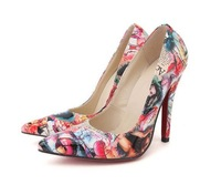 Fashion Graffiti New Style Printing Point Toe Women High Heels Pumps Shoe,Lady Pump Shoe,Best selling