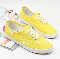 HOT New shallow mouth low breathable solid color flat shoes Sweet candy color lazy casual canvas shoes for women  Free shipping
