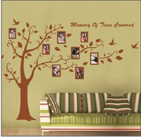 2014 New Extra Large 180x300cm Photo Tree Brown Color Wall Decals  DIY Decoration Fashion Wall Stickers 60x90cm x2  Fashion
