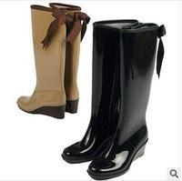 Female fashion rainboots rain boots high heels wedges high rubber water shoes serpentine pattern black popular waterproof shoes