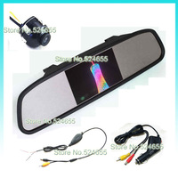 Wireless 4.3inch universal car rear mirror monitor and 360degree ccd hd rear view waterproof car camera system