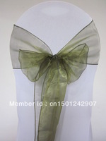 Olive Green Sonw Organza Chair Sash For Wedding Event &Party Decoration