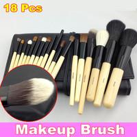 18 PCS Cosmetic Makeup Brush Face Eyeshadow Brushes Kit Set + Pouch Case + Free Shipping