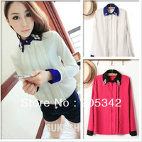 Free Shipping!2013 autumn Women Clothes European Style Diamond Turn-Down Collar Long-Sleeved Fashion Blouse Two Color.JCK0000337