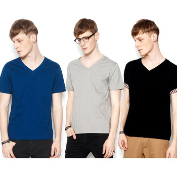 2013 New VANCL Men's V-Neck Tee Fashion Casual 100%Cotton Short Sleeve Slim Fit T-shirt Multicolor FREE SHIPPING