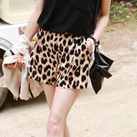 Best Selling! Womens Fashion Casual Leopard Shorts Middle Waist Stretchy Mini Short Free Shipping 1pcs/lot