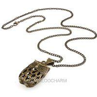 New fashion Vintage Bronze 4.6*2.1*1.7 cm long 72cm Hollow owlet Necklace design 61777
