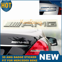 3D Metal Logo Emblem Badge Sticker CLK AMG For Mercedes Benz Class Car Rear Chrome Trunk Decal Silver