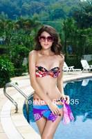 Wholesale!FREE SHIPPING!(10pieces) 100% Brand New Women's Sexy lingerie,Strapless Flower Print Bandeau Bikini Fashion LC40412