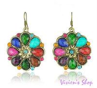 Wholesale Free shipping Vintage earrings Fashion Acrylic Colorful Flower Earrings E030