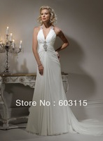 QN130530-0902  V-Neck  Beaded Halter Backless Wedding Dresses