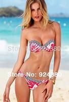hot fashion floral print bikini set with contrast tone edge briefly-design quality women swimwear S /M/L