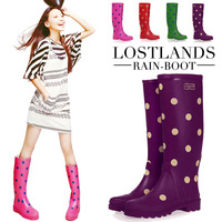 new 2013 Lostlands high quality comfortable handsome women's rainboots women's rain boots polka dot 3