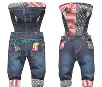 Free shipping!! Spring and autumn Baby Boys/Girls Overall Jeans Long Trousers Fashion Kids pants baby wear with a hood