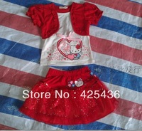 2013 Hot selling gitls kimocat cartoon print false two pieces top+ short yarn skirt 2 pieces child summer suit / set