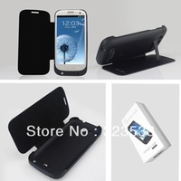 3200mAh For Galaxy S3 Battery Charger Case 2 colors retail packing 1 pc free shipping  with flip cover and holder