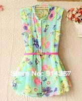 Fashion ladies summer fresh lady collar sleeveless floral chiffon Shirt is Free shipping