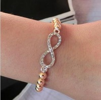 wholesale jewelry! fashion new imitation diamond number lucky 8 cross and love word bracelet bangle.Free shipping!