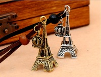 (No min order) Super deal  Vintage Eiffel Tower Crown leather Necklace ancient bronze /silver Sweaters chain
