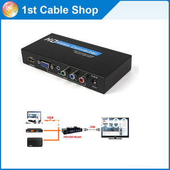 Free shipping&wholesale 1pcs/lot Laptop PC VGA +component  YPbPr +USB media To HDMI Converter upscaler W/IR Remote