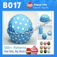 Free Shipping 200 pcs B017Sky Blue colored with white dots for Party suppliers , Baking cup cases,wholesale cupcake boxes