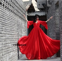 2013 new summer long women chiffon floor-length hot sexy dress plus size beach maxi sleeve pleated casual vintage fashion XL XXL