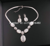 Fashion Silver Plated Necklace Earrings Jewelry Set Party Wedding Chain Pearl Chunky Statement Necklace