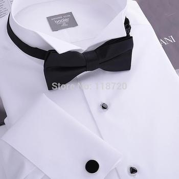 Мужская смокинг рубашка, французский запонки банкетный, малый отложным воротником, ...