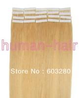 "16""18""20""22""24"" long Tape remy Human Hair Extensions #24 medium blonde color 30g/40g/50g/60g/70gram PU SKIN WEFT 20pcs/LOT"