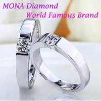 Free shipping 0.5ct Couple rings MONA men and women super high simulation diamond ,better than mossinate,wedding celebration