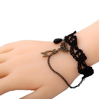 Yazilind Jewelry New Charming Black Braid Bracelet Copper Linked With Acylic Beads Pandent Chain Coppper Bangle For Women