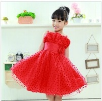 Free shipping  New wedding  girl princess dress childrenchristening dress  Korean girls summer dressesgirls lace vest 6pcs/lot