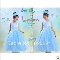 Free Shipping 2014 summer new children christening Princess Dress girls Performances dress long wedding dress