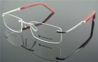 Eyeglass Frames Men's & Women Flexible RED SILVER Rimless Glasses Optic Eyeglasses Prescription Frame RX T0302