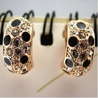 17#Min.order is $10 (mix order).Europe and the United States crystal jewelry small leopard earrings.