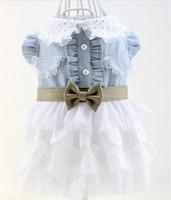 lovable Good Dog Pet Clothes Apparel Denim Lace Bowtie Dress Free Shipping Size XS-XL