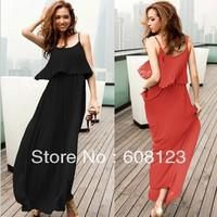 women summer full maxi dress ladies flowing elegant chiffon ruffle suspender dress fashion long pleated dresses