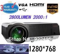 Full HDMI Beamer1080P 2800 Lumen VGA USB Video 3D Projector/Projektor 3D & HD