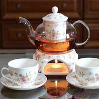 coffee tea set 2014 fashionable coffee mugs romantic theme glass teapot with elegance gift packing box Free shipping