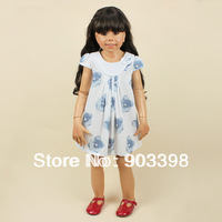 China Post Free Shipping,Light Blue Flower Dress, Summer time,5pcs/lot