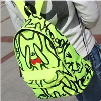 2013 New Arrival Women Nylon Neon Color Cartoon Character Backpacks Designer Cat School Backpack 5 Colors