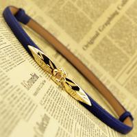 Causal Gold Floral Metal Buckle Thin Belt For Women, PU Leather Belts Strap Adjustable Decoration Waist Belt Black Brown