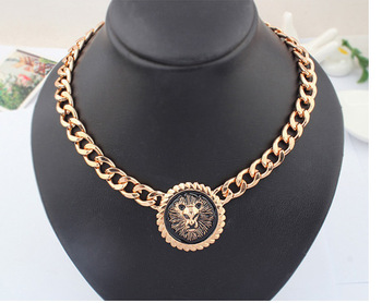 Celebrity Style Rihanna Jewelry Gold Statement Round Lion Head Chain Link Necklace N010