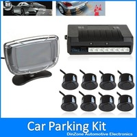 LCD Display Monitor Car Rear View Parking System Kit With 8 Sensors For Front And Rear Viewing Backup Reverse ! Free Shipping