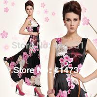Hot Luxury New Women/Women's 2014 Maxi Long Dresses Summer Clothing Fashion Floral Print Dress Bohemina Beach Wear Vest Sundress